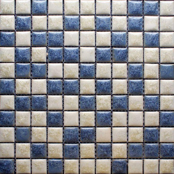 Blue And Beige Porcelain Tile Backsplash Kitchen Wall Art Bathroom Floor  Mosaic Tiles Glazed Ceramic Pebble Tiles Sheets Size: Color: Blue And Beige;