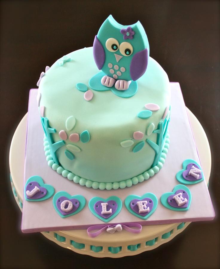 Purple & Teal Owl Cake
