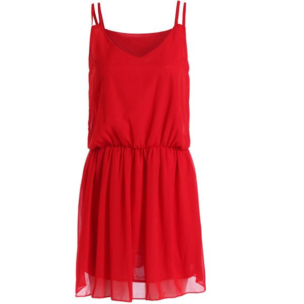 Red Spaghetti Strap Slim Chiffon Dress ($13) ❤ liked on Polyvore featuring dresses, red, knee length chiffon dress, sleeveless shift dress, knee-length dresses, sleeveless dress and red dress