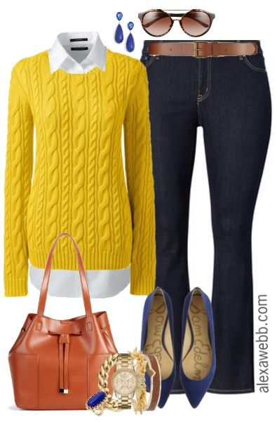 """Put a little """"prep"""" in your step for spring! A little preppy and a totally classic combination of a plus size cable sweater, white button down, and a timeless boot cut dark jean. The bright yellow and cobalt make it anything but boring! This outfit is perfect for weekend wear or casual Fridays at the… ReadMore"""