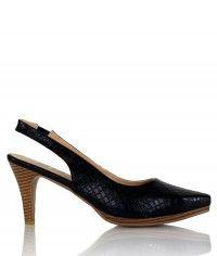 Brazen - Women's gloss black snake wood-grain mid heels $99.00 #shoeenvy #shoes #fashion #instalove #pretty #ethical #glamorous
