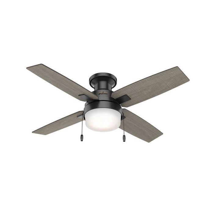 Hunter Port Haven 44 In Matte Black Led Ceiling Fan 4 Blade Lowes Com In 2021 Ceiling Fan Ceiling Fan With Light Flush Mount Ceiling Fan 44 inch ceiling fan with light
