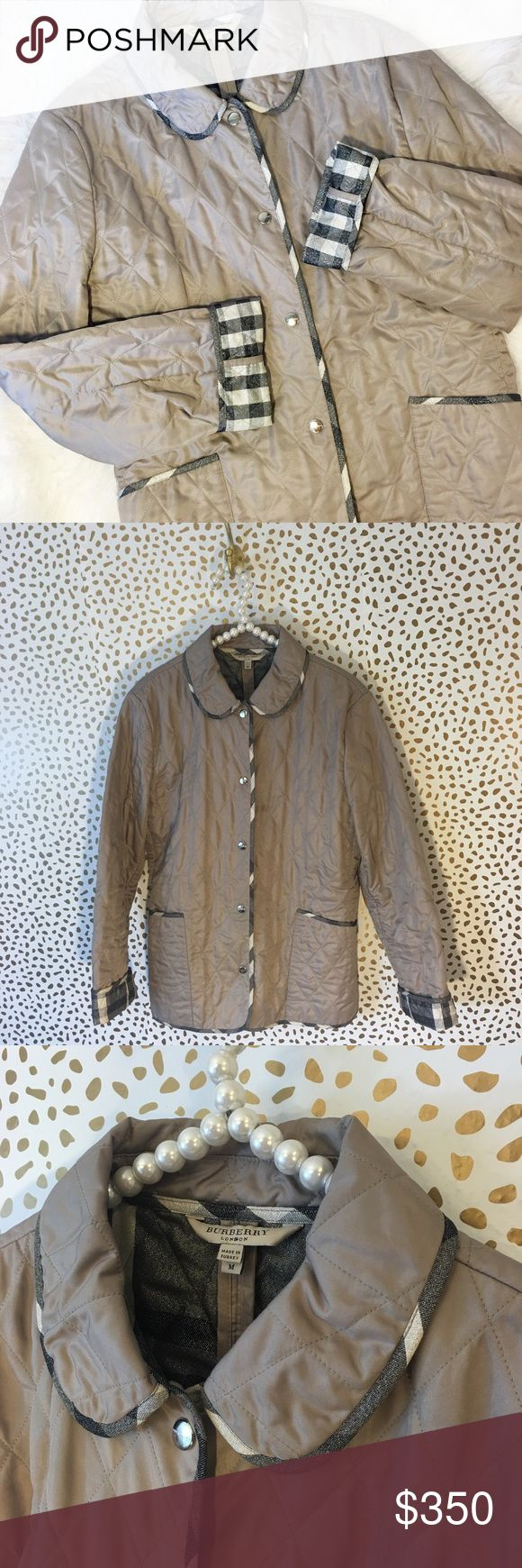 Burberry London Taupe Shimmer Check Quilted Coat SO amazing and perfect for fall and winter! Like new condition. Size medium. Snap button closure. Taupe-grey-khaki tone with grey black and white SPARKLY lining and trim! Very rare and sold out. Guaranteed authentic! Please ask any and all questions. No trades!! Burberry Jackets & Coats