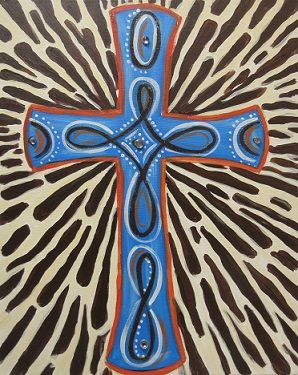 A beautiful cross with colors reminiscent of an African savannah.  How it works:  1. Make your reservation online.  2. BYOB  3. Arrive 5-10 minutes before class to sign in and choose your seat.  4. One of our artists will guide you through creating your beautiful artwork.   Please note:  - We ask for a minimum of 4 painters to hold a class.  - We have a 24 hour cancellation policy.  - Late arrivals will be responsible for catching up with the rest of the class.   Thank you for your…