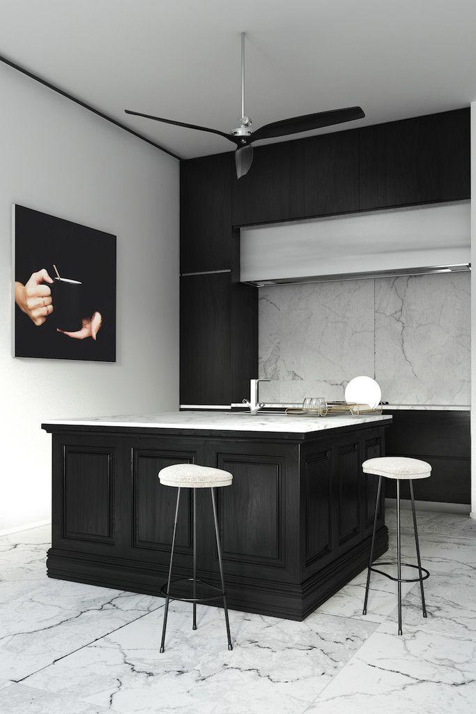 Kitchen in black and marble – Greige Design