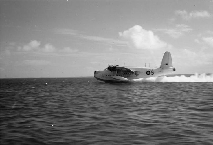 AIRCRAFT ROYAL AIR FORCE 1939-1945 SHORT S25 SUNDERLAND (CF 657)   Sunderland Mark III, EJ143 'S', of No. 230 Squadron RAF Detachment, piloted by Flight Lieutenant A W Deller, taking off at Addu Atoll, Maldive Islands.