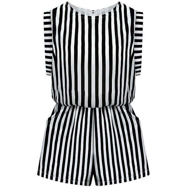 Black Ruffle Stripes Sleeveless Crew Neck Womens Cute Romper (185 VEF) ❤ liked on Polyvore featuring jumpsuits, rompers, jumpsuit, dresses, playsuit, shorts, black, sleeveless romper, striped romper and romper jumpsuit
