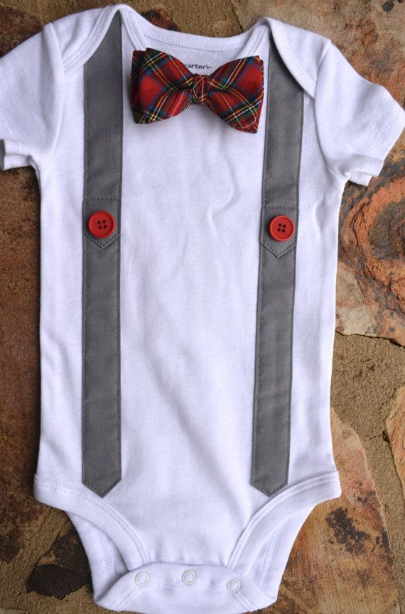 baby bodysuitred plaid baby bow tie and suspenders by ChatterBox04