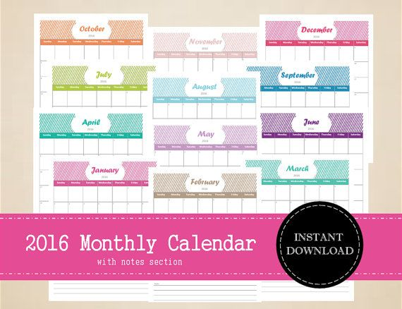 Printable 2016 Monthly Calendar with notes by MBucherConsulting