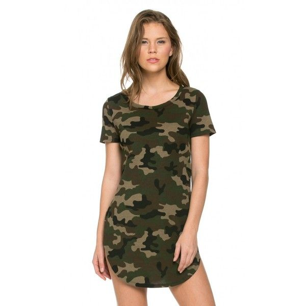 Camouflage Slit Shirt Dress (37 AUD) ❤ liked on Polyvore featuring dresses, shirt dress, t-shirt dresses, stretch shirt dress, camouflage dresses and stretchy dresses