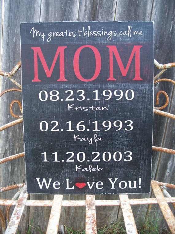 Personalized Mothers Day Gift Moms Greatest Blessings Custom Wood Sign Mom S 34 95 Via Etsy For The Home Pinterest Mother Gifts