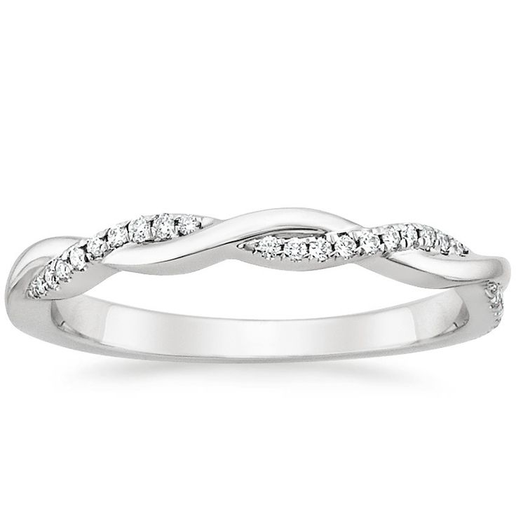 18K White Gold Petite Twisted Vine Diamond Ring (1/10 ct. tw.) from Brilliant Earth  perfect for a wedding band