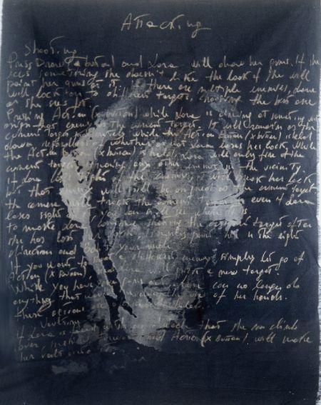 """autore: Francesca Scammacca - """"Lara"""" - candeggina e pastelli su tela nera - cm 54x71,5 - 1998"""