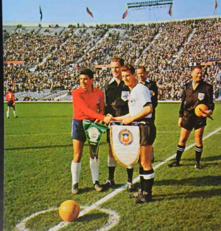 West Germany 2 Chile 0 in 1962 in Santiago. The captains, Sergio Navarro and Hans Schafer, meet before their Group 2 clash at the World Cup Finals.