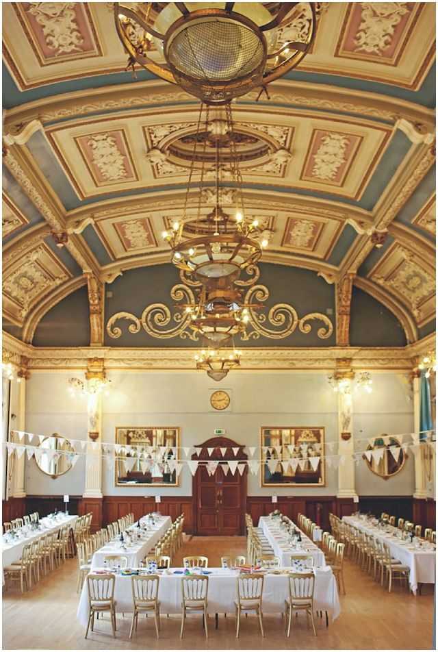 Old Finsbury Town Hall Wedding by Laura McCluskey...ceiling of town hall