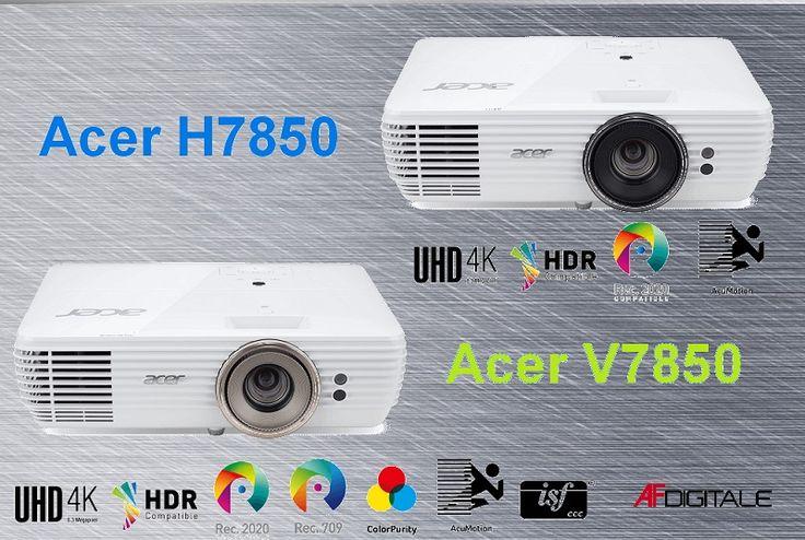 Due nuovi proiettori Acer a prova di 4K e HDR10: i gemelli V7850 e H7850. Gli ultimi proiettori Acer V7850 e H7850 supportano il 4K Ultra HD e l'HDR10. Esteticamente quasi identici, toccano i 3000 ANSI Lumen con un rapporto di contrasto di 1.000.000:1. Garantita la piena copertura dello spazio colore REC.2020.