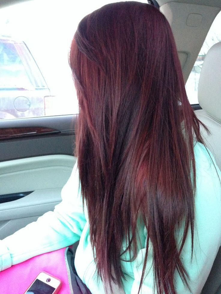 Dark hair, cherry coke highlights | Hair and Salons