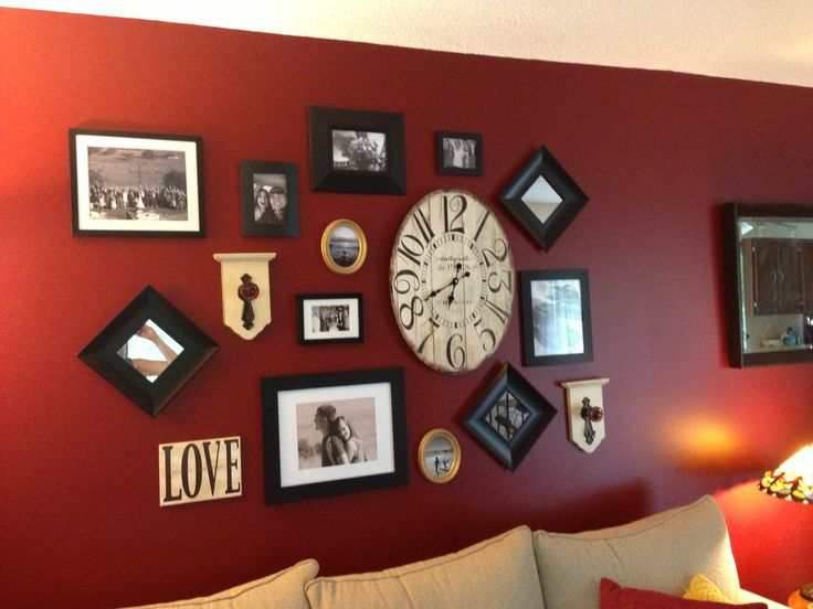 Living room wall decor. Wall collage.  Red wall