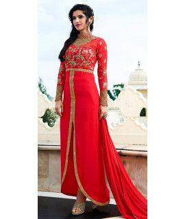 Lovely Red Georgette Designer Salwar Suit.