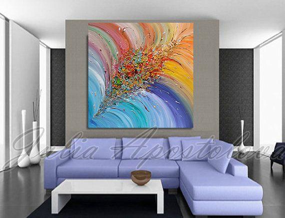 #Floral #Abstract #Painting #Flowerart #RainbowPainting #Giftforher #Abstractprint #LargeWallArt #Turquoise #BlueHomeDecor #SquareArt #artcollector #artforsale #print #canvas #floralprint by #JuliaApostolova