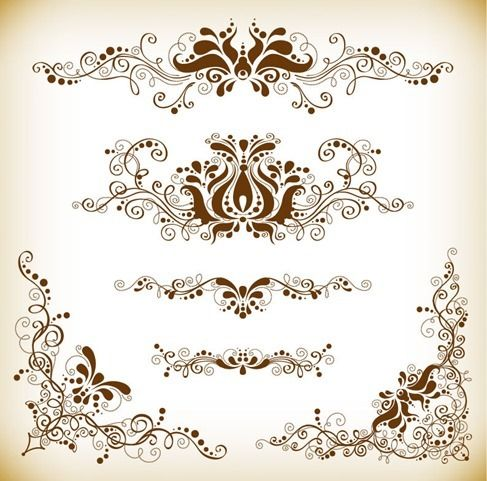 Free vector Vintage Design Element Vector Graphis Set #4978