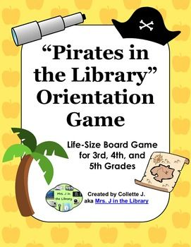 Every year, school librarians and media specialists introduce the library to new students and review library procedures for returning students.  Get students moving during your library orientation lesson with a pirates-themed life-size board game!  Groups of students move around the library on colorful paper spaces while answering questions about the library sections and routines.This zip file product includes: Instructions for setting up the life-size board game Printable Treasure Chest…