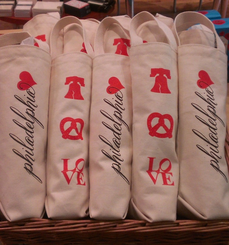 These Love Philadelphia wine totes would make a great gift for your out of town wedding guests! Exclusively from Paper on pine!