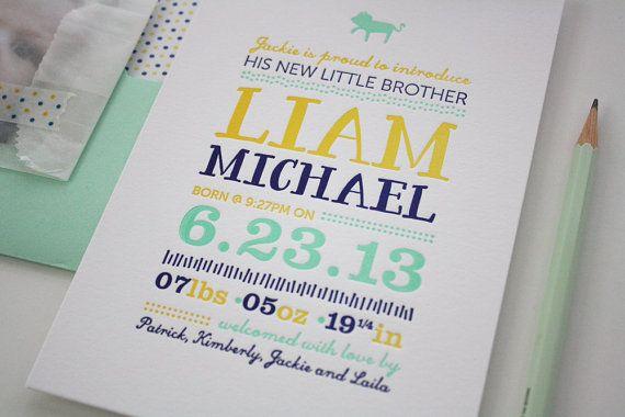 Baby card letterpress