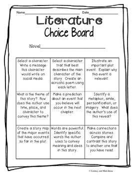 Free: Choice boards are excellent tools to help students better understand the book or short story they are reading.  Students choose from the activities listed in the boxes.  Have students select a different activity each day.*Use this to extend a lesson.*Use this to help students use multiple learning styles.*Use this to review before a quiz.Click the follow button to get additional updates.