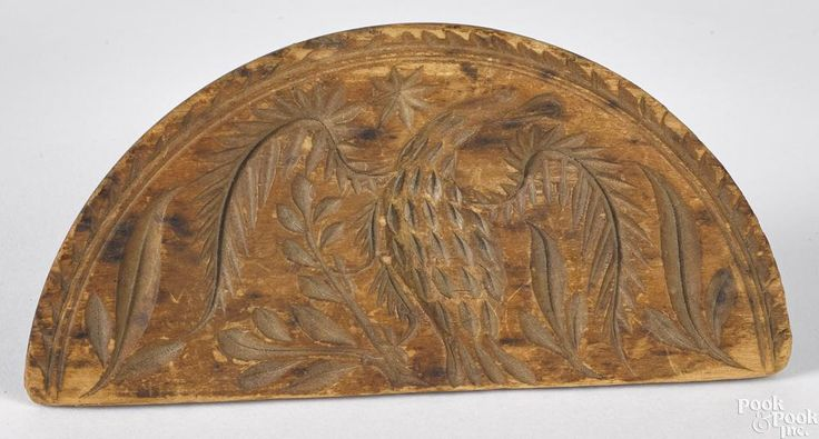 Carved pine half round eagle butter stamp - Price Estimate: $400 - $800