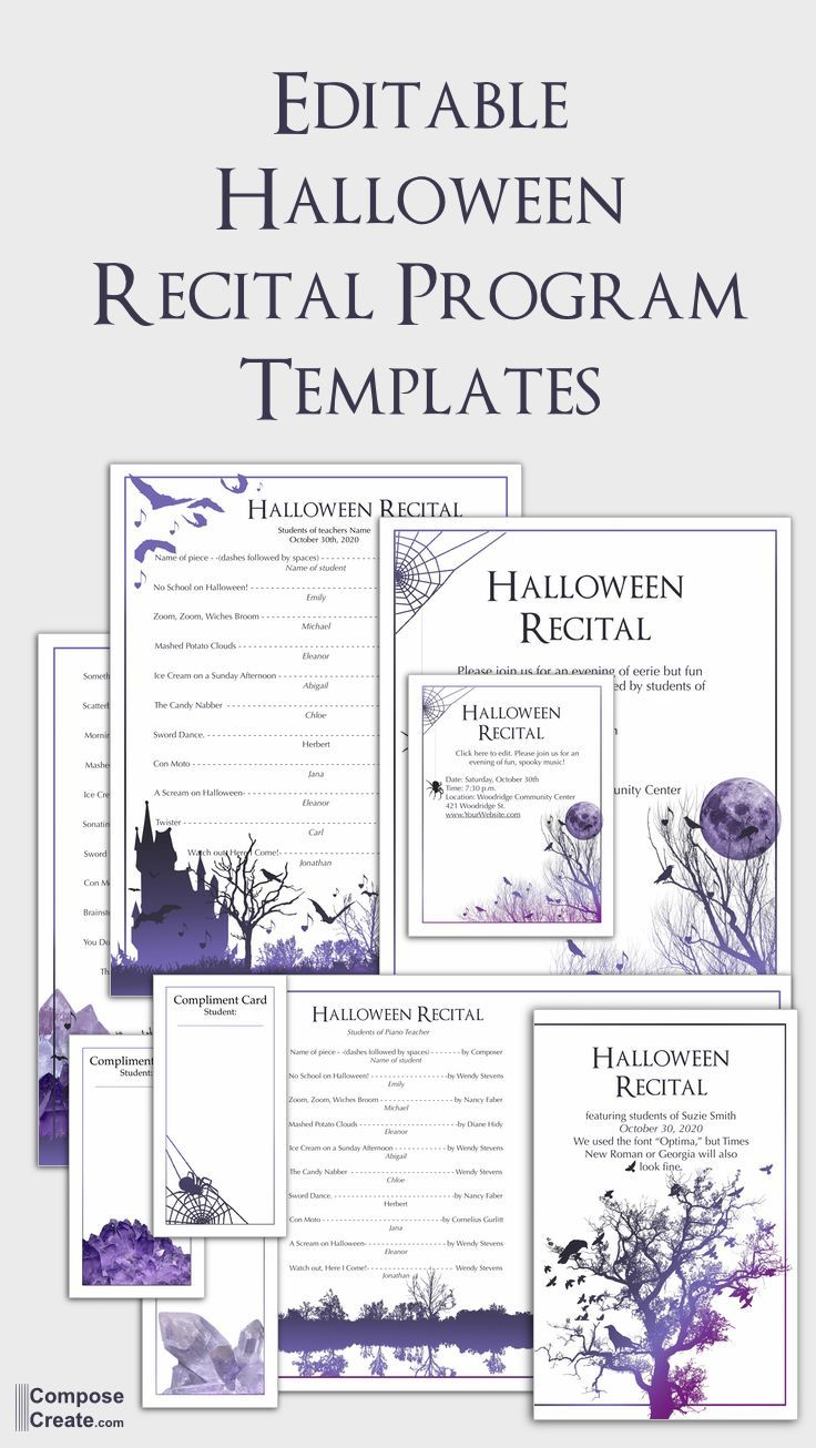 Soooo Excited About This Editable Halloween Recital Program Template That An Artist Designed Recital Pianoteacher P Recital Piano Recital Halloween Music