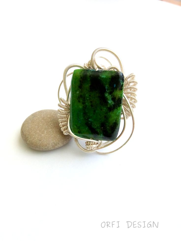 ...Chrysocolla wire wrapped ring, handmade jewelry
