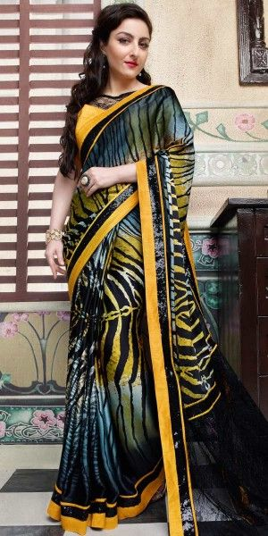 Soha Ali Khan Yellow And Multi-Color Silk Saree With Blouse.