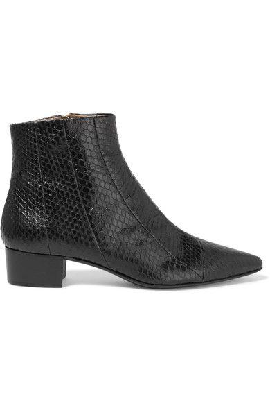 Heel measures approximately 35mm/ 1.5 inches Black elaphe Zip fastening along side Elaphe: China  Made in Italy
