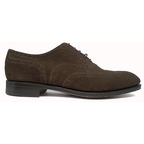 Zapato oxford pala vega con picado maría en ante color marrón de Yanko vista lateral