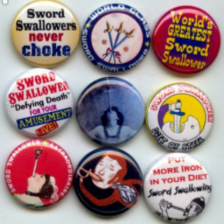 Sword Swallower Swallowing circus sideshow pinback button set by Yesware11 on Etsy.. Click for details!