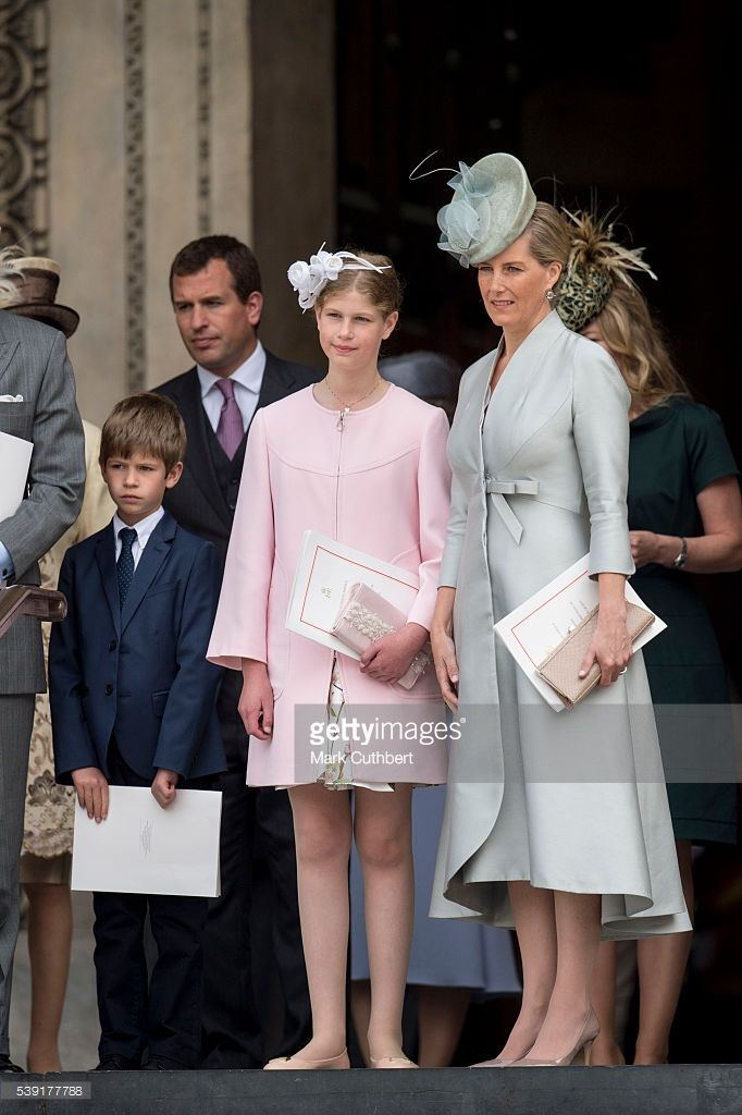 Sophie, Countess of Wessex with James Viscount Severn and Lady Louise Windsor attend a National Service of Thanksgiving as part of the 90th birthday celebrations for The Queen at St Paul's Cathedral on June 10, 2016 in London, England.  (Photo by Mark Cuthbert/UK Press via Getty Images)