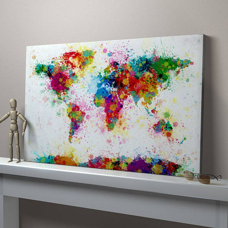 Make a stencil of the world with some areas missing near the continents and splash paint away. Paint Splashes World Map Art Print.