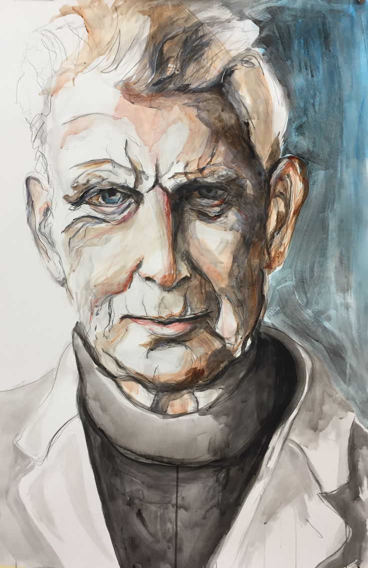 Samuel Beckett, acrylverf/potlood op papier, 120 x 70 cm, Esther Eggink