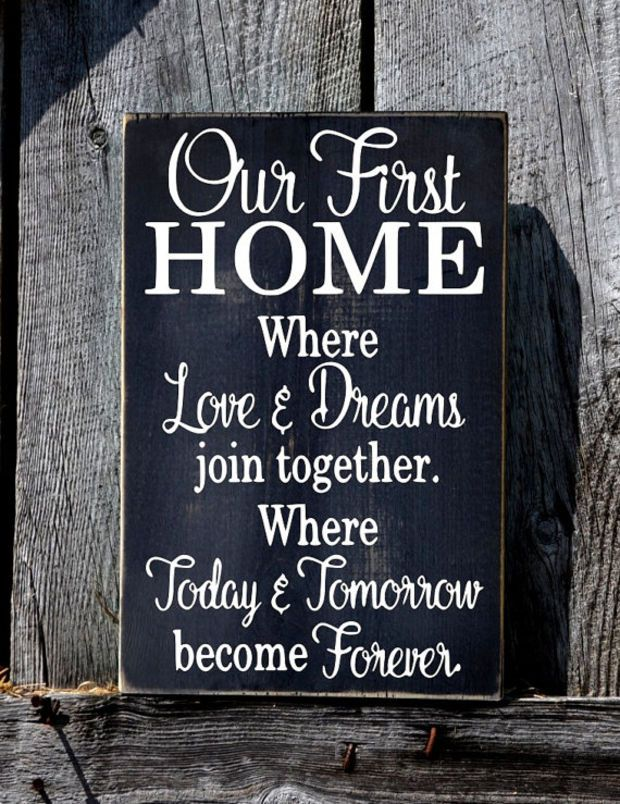 Our First Home Sign, Rustic Wedding Gift For Couple, Welcome Wood Plaque, Love Dreams Together Forever Quote New House Wall Art Housewarming