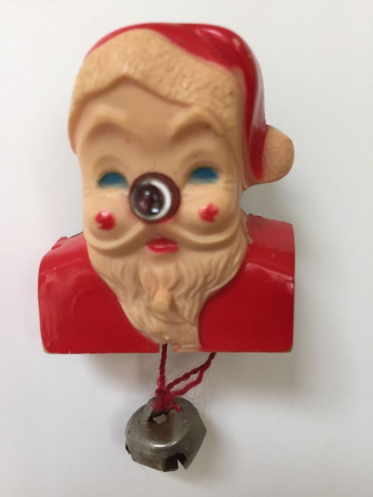 Vintage 1950 S Santa Pinback Light Up Nose Retro Christmas