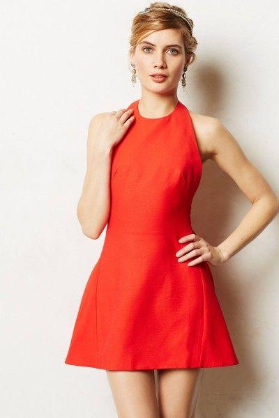 Women's Classic red Halter flared Dress