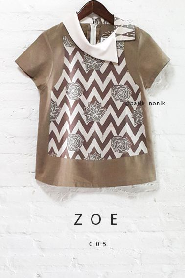 Zoe 005 Asymmetric Semi-Satin Batik Cap Zig-Zag Combination Collared Blouse…