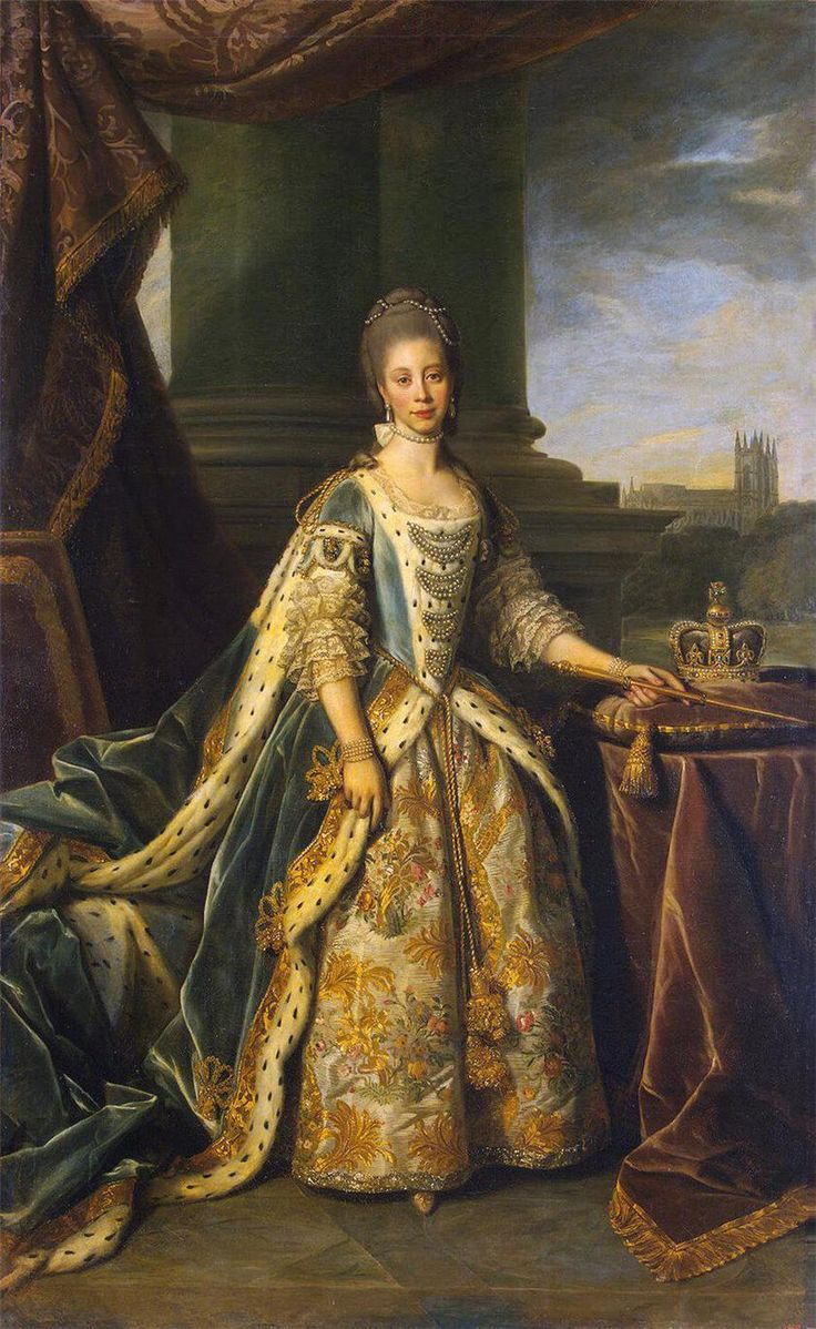 1773 Queen Charlotte in court dress by Sir Nathaniel Dance-Holland (State Hermitage Museum - St. Petersburg, Russia)