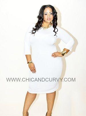 White long sleeve bodycon dress plus size