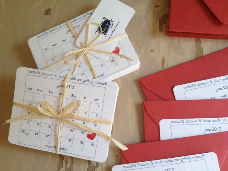 Свадебные приглашения в виде календаря
