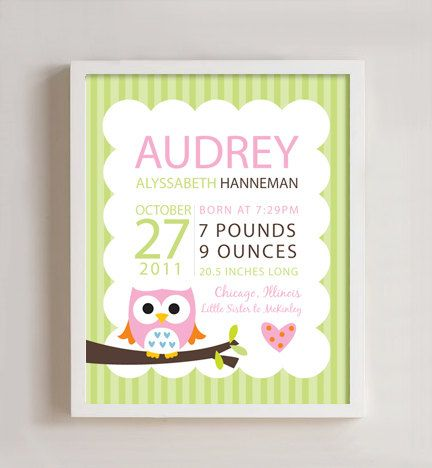 Personalized Birth print Owl wall art 8x10 print by polkaprints, $18.00- customizable for Haileys room !!