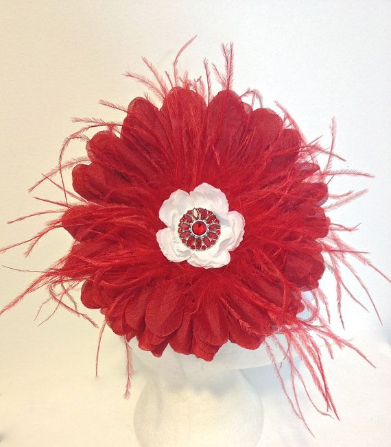 Red and White Jumbo Flower Feather Headband by FancyGirlBoutiqueNYC on Etsy