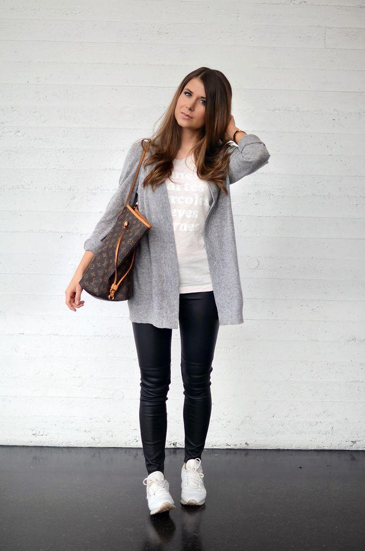White top. Skinnies. Gray cardigan. White tennis shoes.