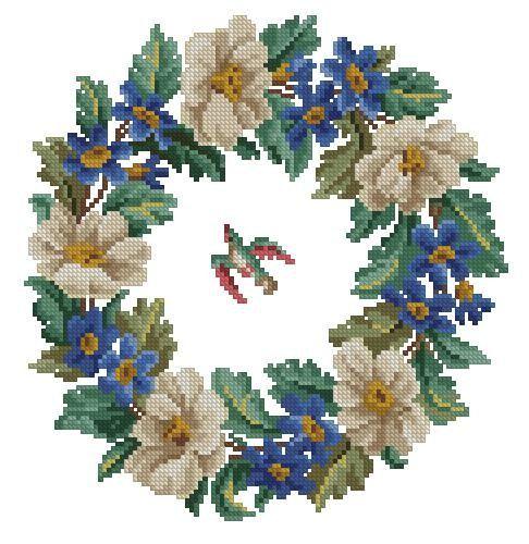 Magnolias wreath with a bird antique digital cross by Smilylana